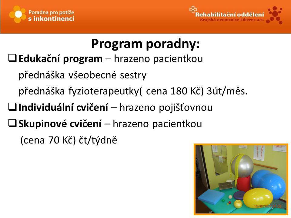 Program poradny:  Edukační program – hrazeno pacientkou přednáška všeobecné sestry přednáška fyzioterapeutky( cena 180 Kč) 3út/měs.  Individuální cv