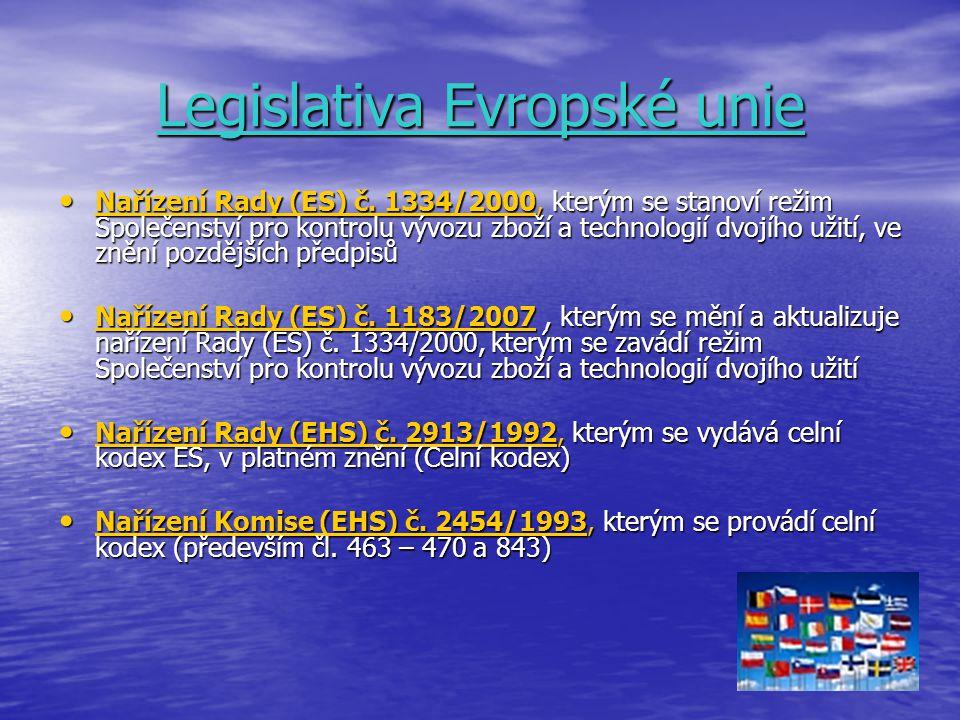 Legislativa Evropské unie Nařízení Rady (ES) č. 1334/2000, kterým se stanoví režim Společenství pro kontrolu vývozu zboží a technologií dvojího užití,