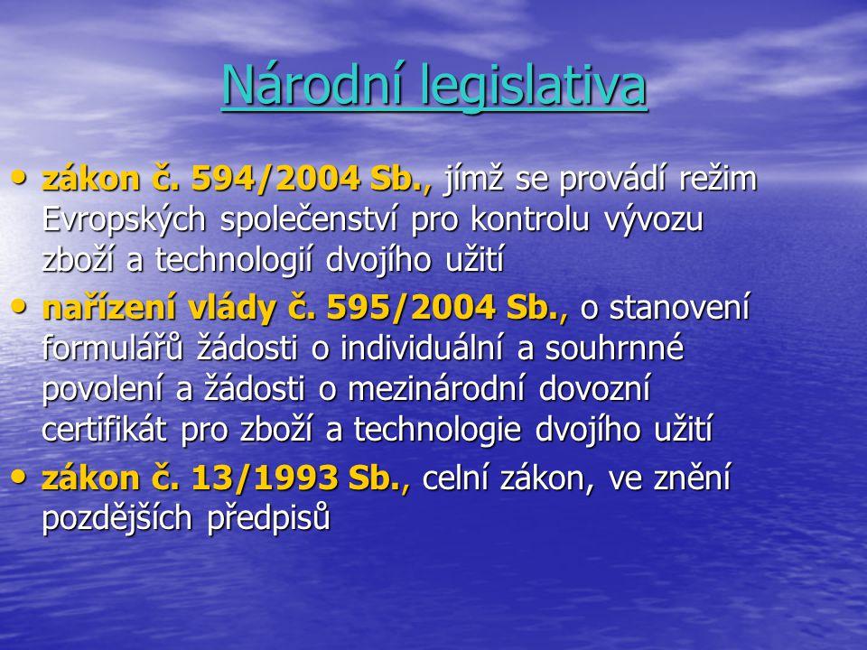 Národní legislativa zákon č. 594/2004 Sb., jímž se provádí režim Evropských společenství pro kontrolu vývozu zboží a technologií dvojího užití zákon č