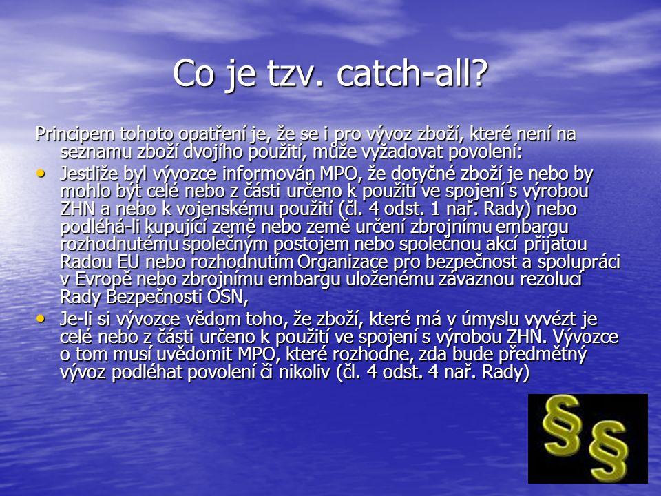 Co je tzv. catch-all? Principem tohoto opatření je, že se i pro vývoz zboží, které není na seznamu zboží dvojího použití, může vyžadovat povolení: Jes