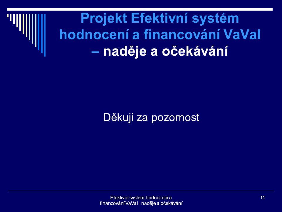 Efektivní systém hodnocení a financování VaVaI - naděje a očekávání 11 Projekt Efektivní systém hodnocení a financování VaVaI – naděje a očekávání Děkuji za pozornost