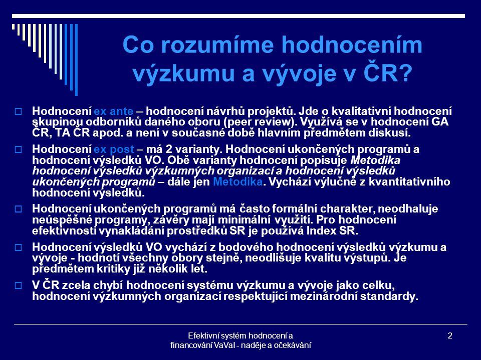 Efektivní systém hodnocení a financování VaVaI - naděje a očekávání 2 Co rozumíme hodnocením výzkumu a vývoje v ČR.