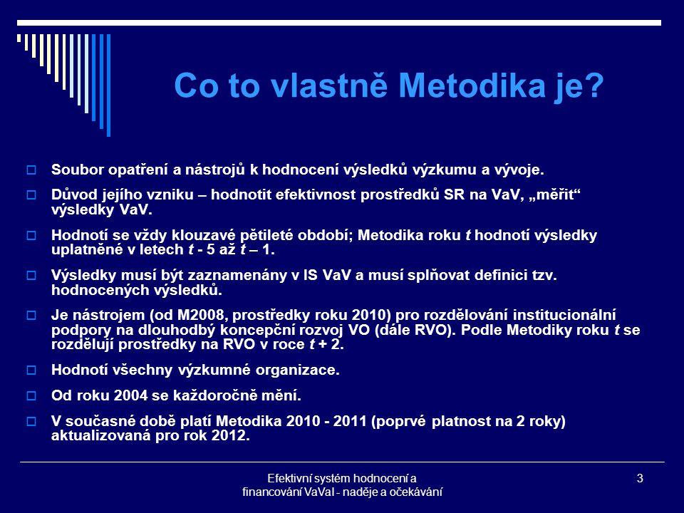 Efektivní systém hodnocení a financování VaVaI - naděje a očekávání 3 Co to vlastně Metodika je.