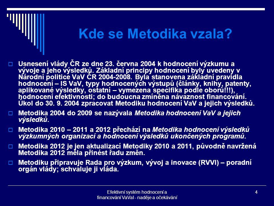 Efektivní systém hodnocení a financování VaVaI - naděje a očekávání 4 Kde se Metodika vzala.
