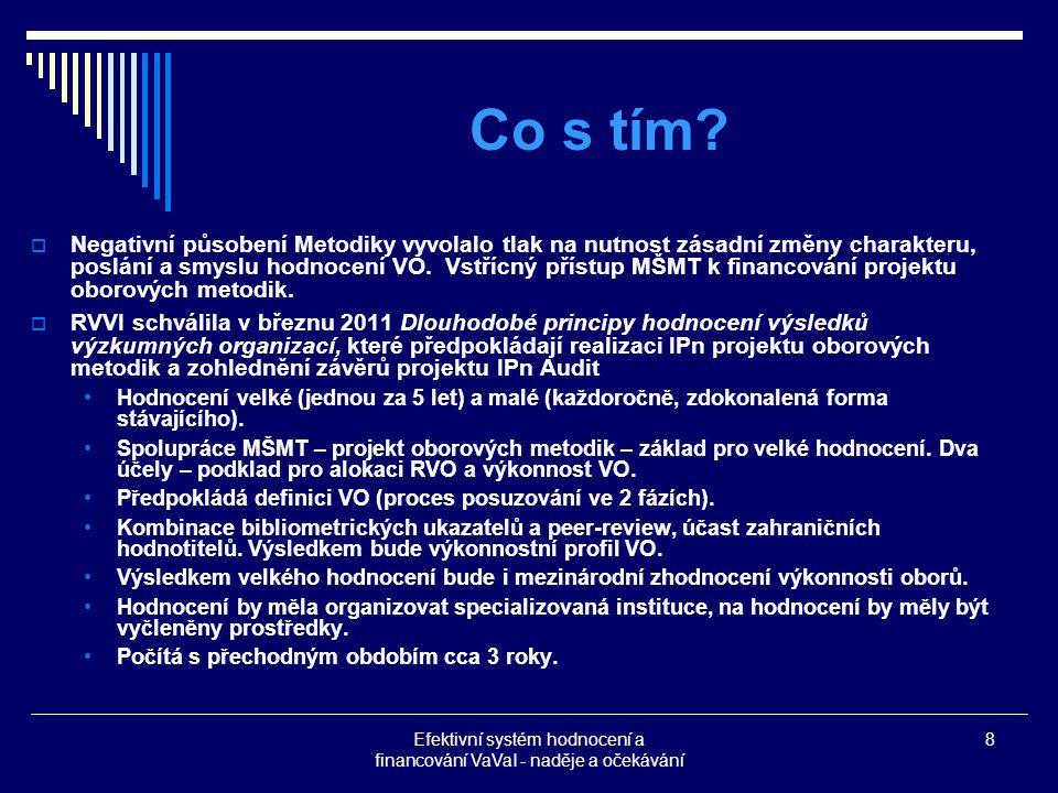 Efektivní systém hodnocení a financování VaVaI - naděje a očekávání 8 Co s tím.
