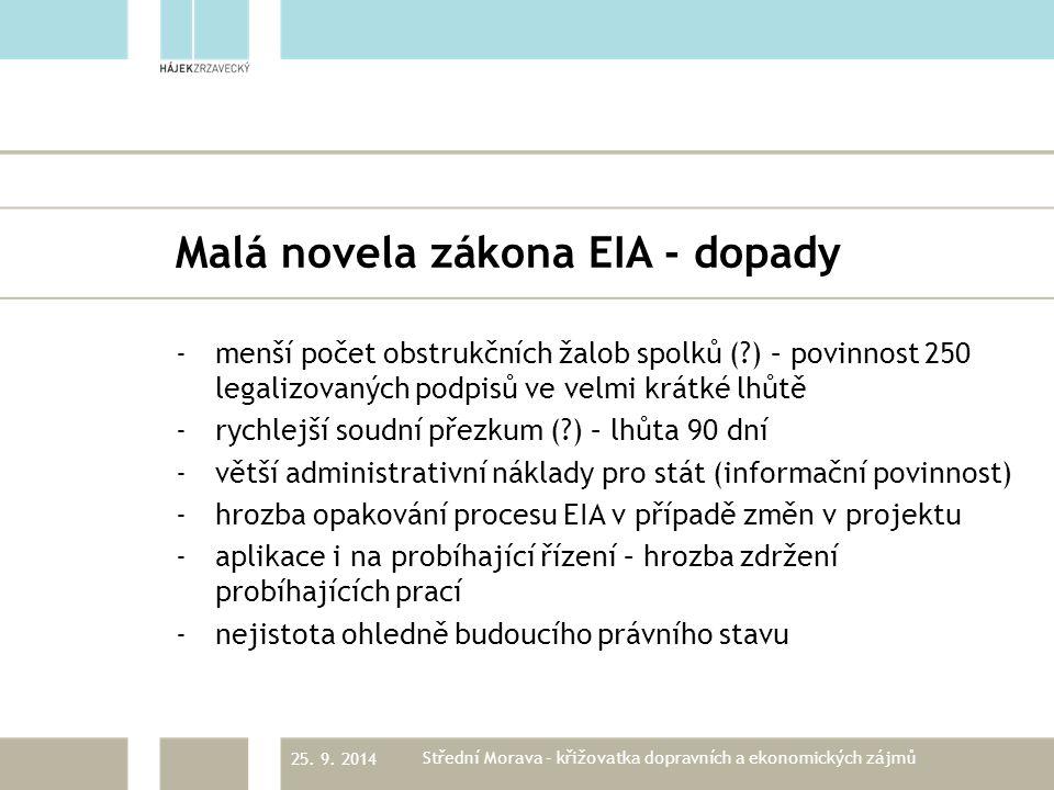 Malá novela zákona EIA - dopady -menší počet obstrukčních žalob spolků (?) – povinnost 250 legalizovaných podpisů ve velmi krátké lhůtě -rychlejší soudní přezkum (?) – lhůta 90 dní -větší administrativní náklady pro stát (informační povinnost) -hrozba opakování procesu EIA v případě změn v projektu -aplikace i na probíhající řízení – hrozba zdržení probíhajících prací -nejistota ohledně budoucího právního stavu 25.