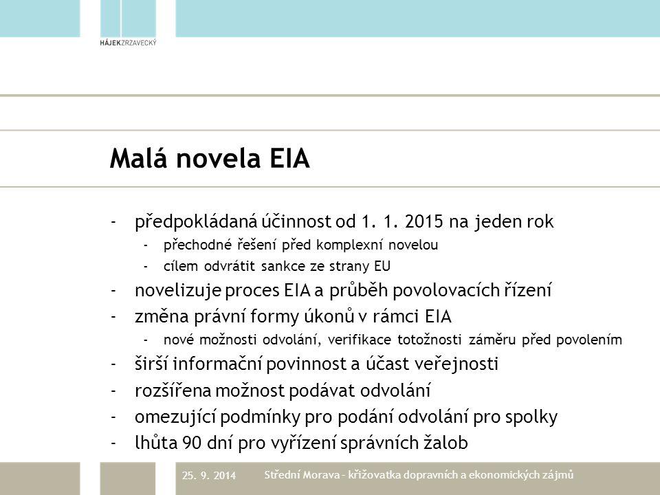 Malá novela EIA -předpokládaná účinnost od 1. 1.