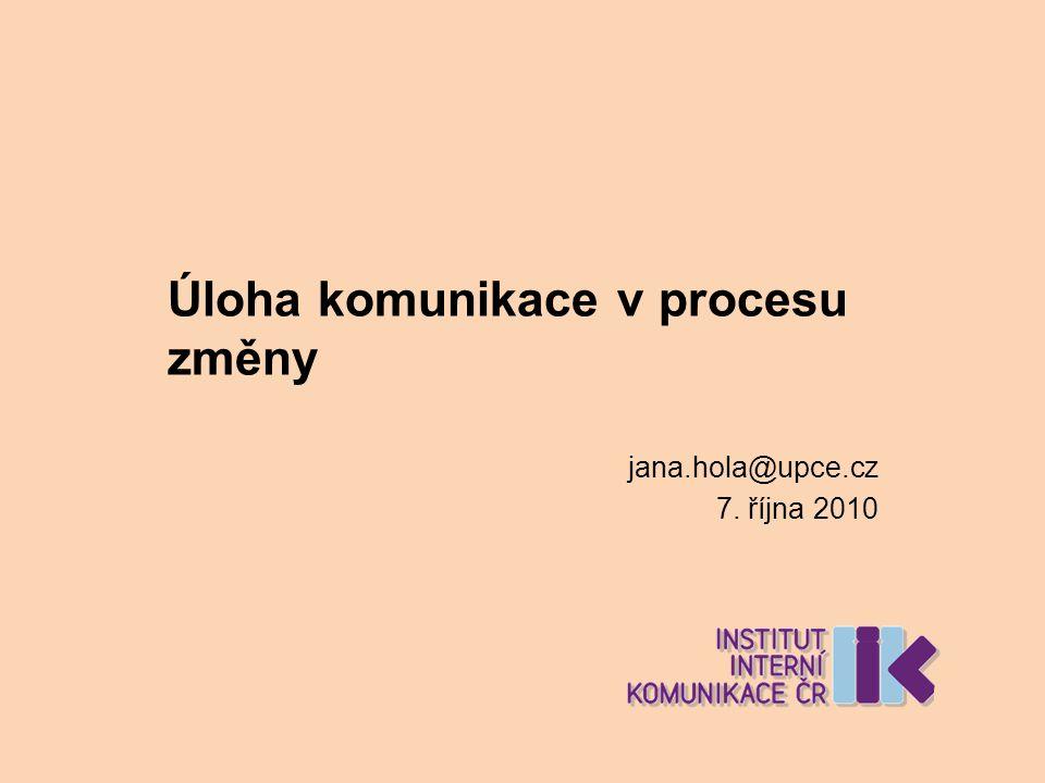 Úloha komunikace v procesu změny jana.hola@upce.cz 7. října 2010