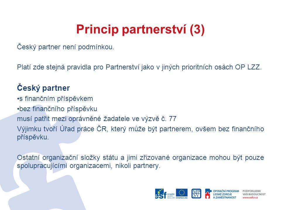 Princip partnerství (3) Český partner není podmínkou.