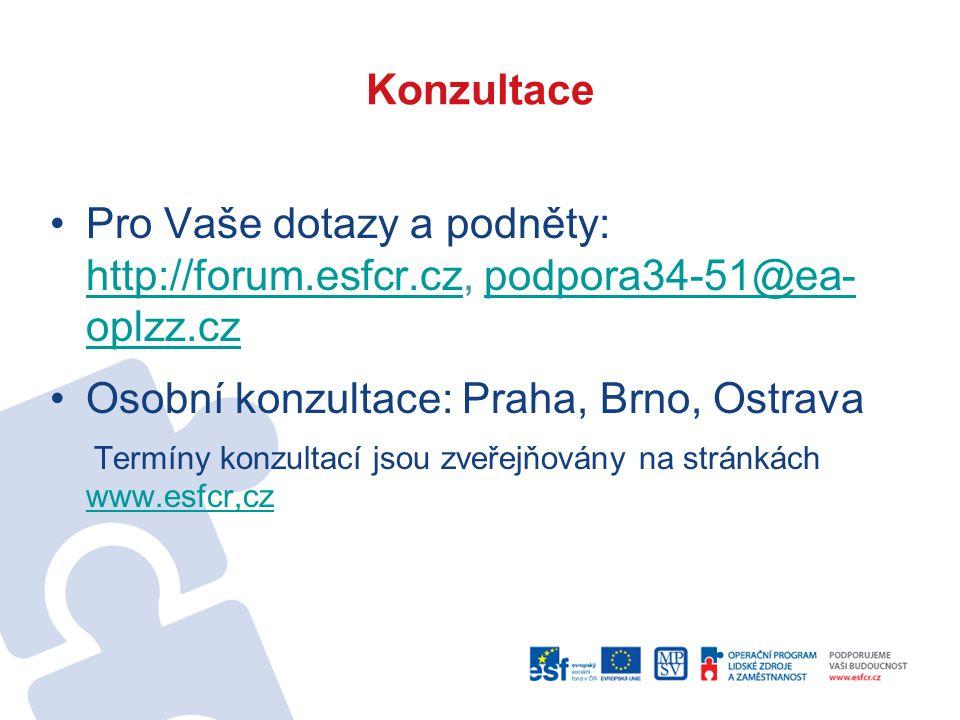 Konzultace Pro Vaše dotazy a podněty: http://forum.esfcr.cz, podpora34-51@ea- oplzz.cz http://forum.esfcr.czpodpora34-51@ea- oplzz.cz Osobní konzultace: Praha, Brno, Ostrava Termíny konzultací jsou zveřejňovány na stránkách www.esfcr,cz www.esfcr,cz