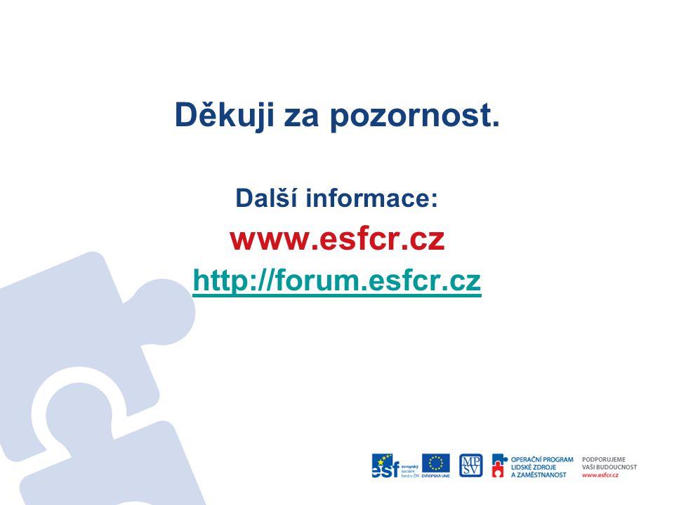 Děkuji za pozornost. Další informace: www.esfcr.cz http://forum.esfcr.cz