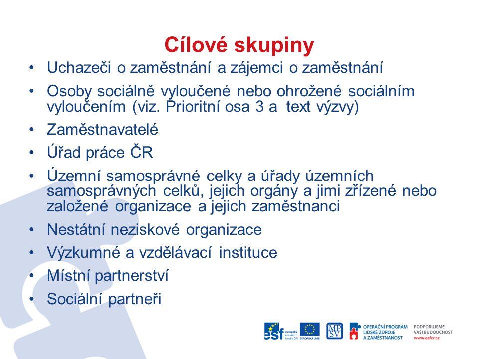 Cílové skupiny Uchazeči o zaměstnání a zájemci o zaměstnání Osoby sociálně vyloučené nebo ohrožené sociálním vyloučením (viz.