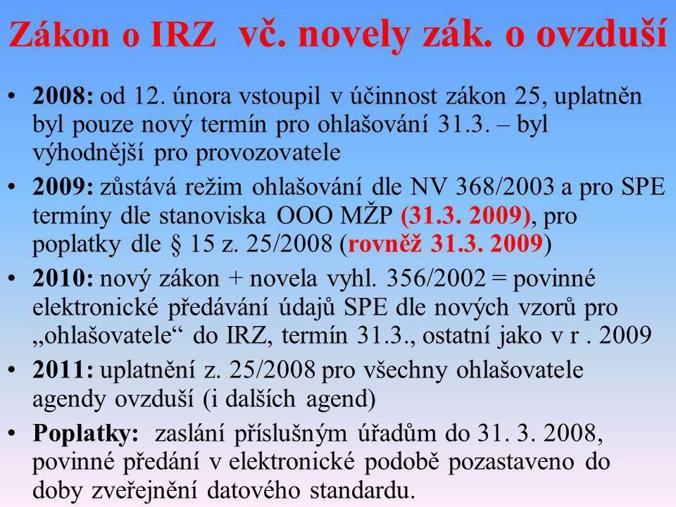 2008: od 12. února vstoupil v účinnost zákon 25, uplatněn byl pouze nový termín pro ohlašování 31.3. – byl výhodnější pro provozovatele 2009: zůstává