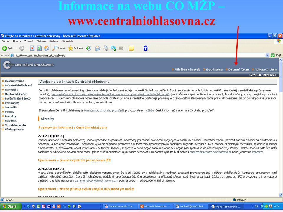 Informace na webu CO MŽP – www.centralniohlasovna.cz