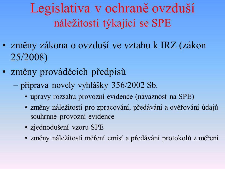 Legislativa v ochraně ovzduší náležitosti týkající se SPE změny zákona o ovzduší ve vztahu k IRZ (zákon 25/2008) změny prováděcích předpisů –příprava