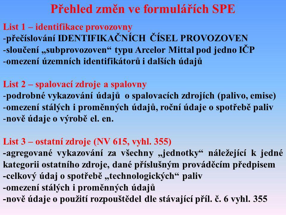 """Přehled změn ve formulářích SPE List 1 – identifikace provozovny -přečíslování IDENTIFIKAČNÍCH ČÍSEL PROVOZOVEN -sloučení """"subprovozoven"""" typu Arcelor"""