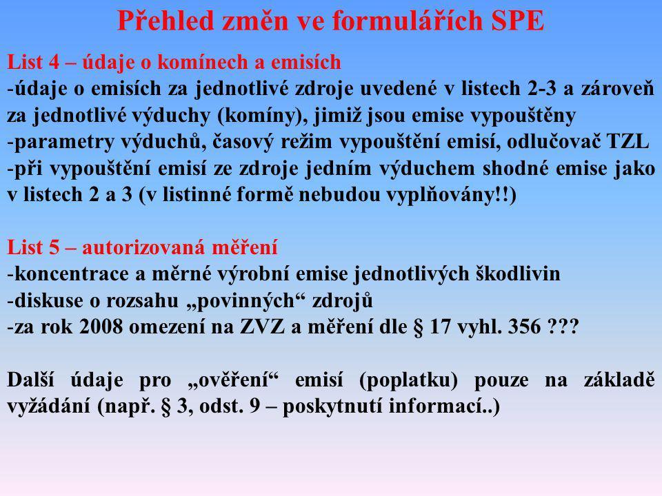 Přehled změn ve formulářích SPE List 4 – údaje o komínech a emisích -údaje o emisích za jednotlivé zdroje uvedené v listech 2-3 a zároveň za jednotliv