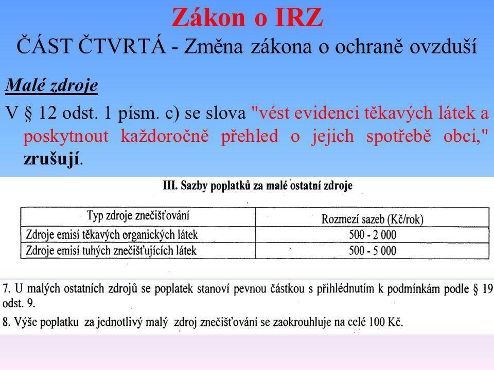 Zákon o IRZ ČÁST ČTVRTÁ - Změna zákona o ochraně ovzduší Malé zdroje V § 12 odst. 1 písm. c) se slova