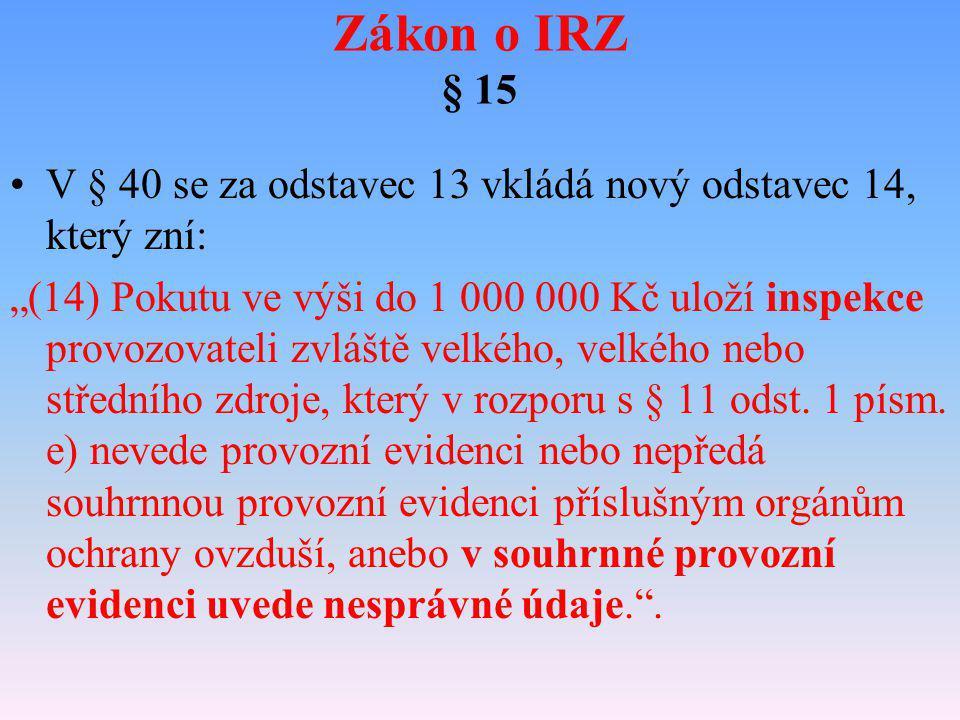 """Zákon o IRZ § 15 V § 40 se za odstavec 13 vkládá nový odstavec 14, který zní: """"(14) Pokutu ve výši do 1 000 000 Kč uloží inspekce provozovateli zvlášt"""