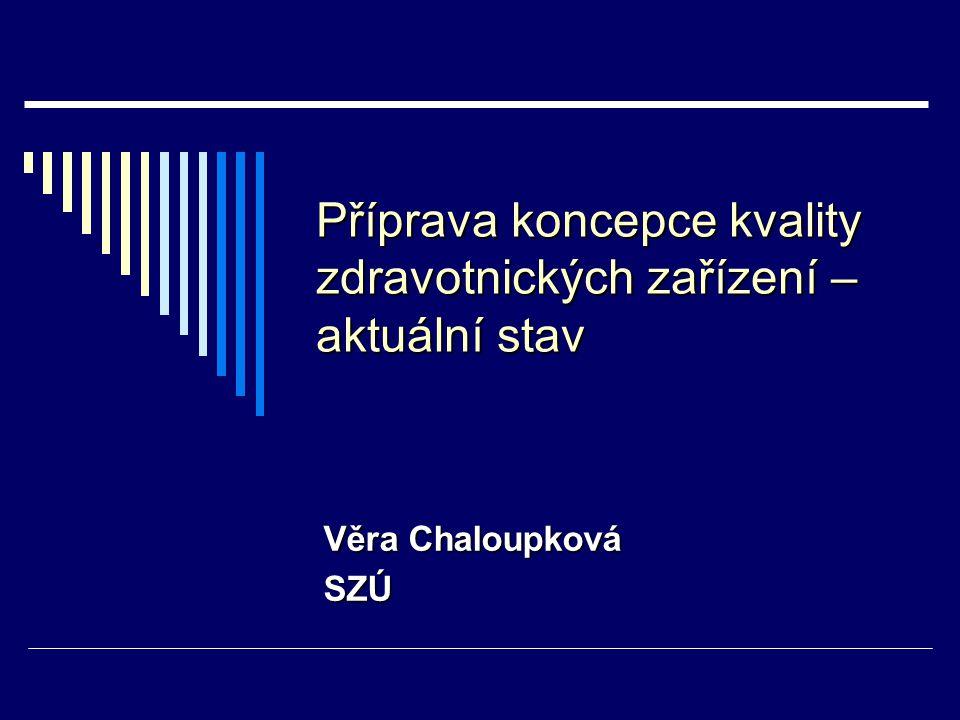 Příprava koncepce kvality zdravotnických zařízení – aktuální stav Věra Chaloupková SZÚ