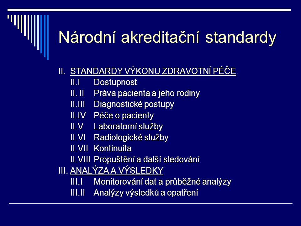 Národní akreditační standardy II.STANDARDY VÝKONU ZDRAVOTNÍ PÉČE II.I Dostupnost II. II Práva pacienta a jeho rodiny II.III Diagnostické postupy II.IV