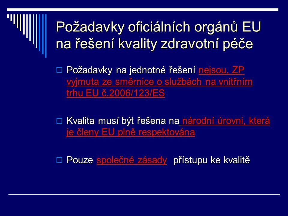 Požadavky oficiálních orgánů EU na řešení kvality zdravotní péče  Požadavky na jednotné řešení nejsou, ZP vyjmuta ze směrnice o službách na vnitřním