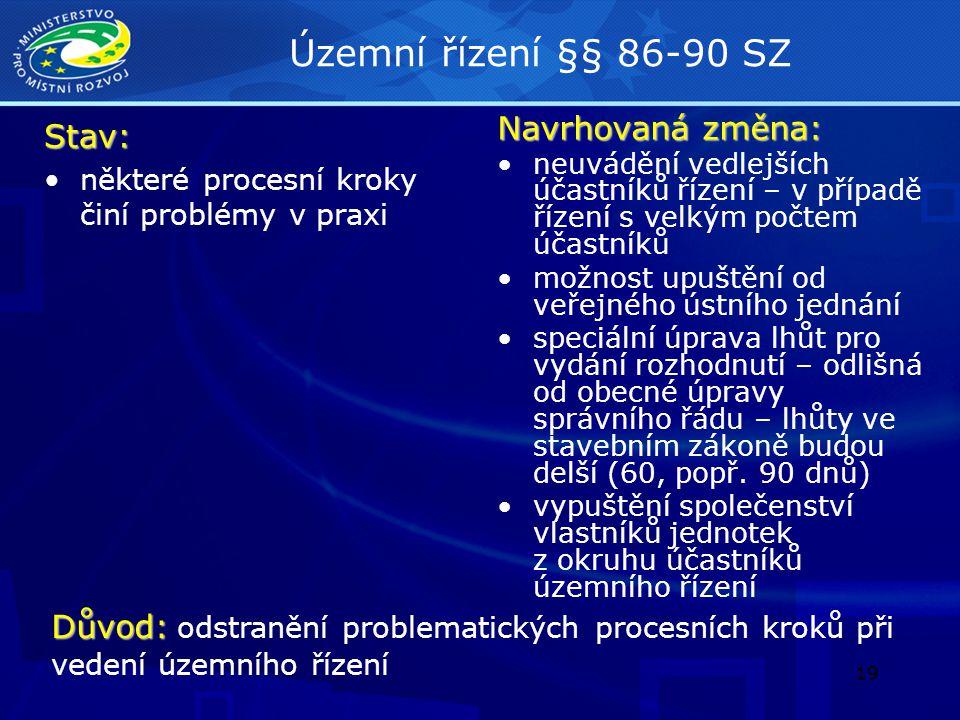 20 Územně plánovací informace § 21 SZStav: dvojí pojetí = předběžná informace a forma územního rozhodování (umístění záměru) touto formou se umisťují stavby pro bydlení a pro rekreaci do 150 m 2, podzemní stavby do 300 m 2, haly do 1000 m 2 a stavby do 25 m 2 nedostatečně upravený proces pro projednání chybí právní jistota pro žadatele i sousedy Navrhovaná změna: zrušení územně plánovací informace jako formy umístění záměru zachování pouze jako předběžné informace – informace pro žadatele o možnostech a způsobu změn v území Důvod: Důvod: odstranění problematické formy umístění