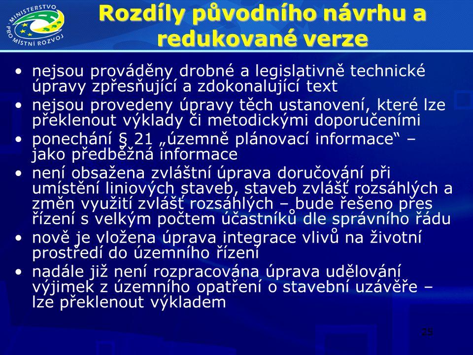 25 Rozdíly původního návrhu a redukované verze nejsou prováděny drobné a legislativně technické úpravy zpřesňující a zdokonalující text nejsou provede