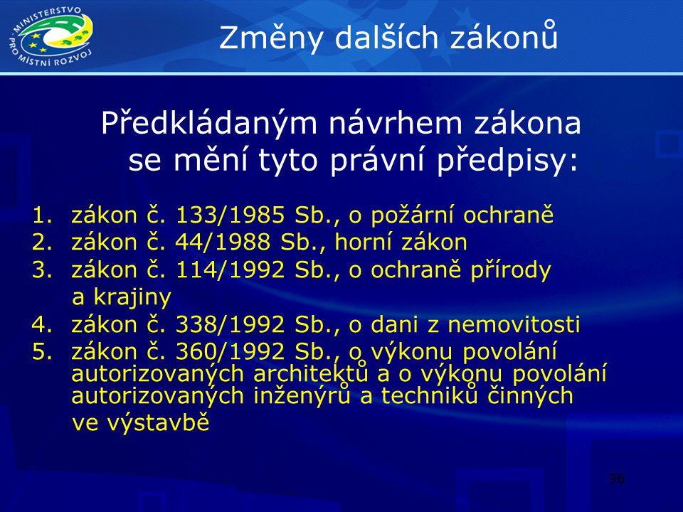 37 Změny dalších zákonů 6.zákon č.200/1994 Sb., o zeměměřictví 7.zákon č.