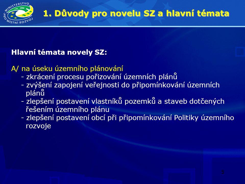5 1. Důvody pro novelu SZ a hlavní témata Hlavní témata novely SZ: A/ na úseku územního plánování - zkrácení procesu pořizování územních plánů - zvýše