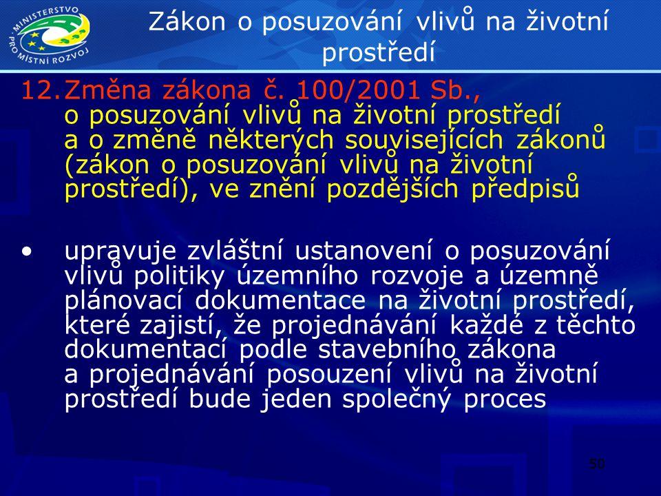 51 Zákon o posuzování vlivů na životní prostředí 12.Změna zákona č.