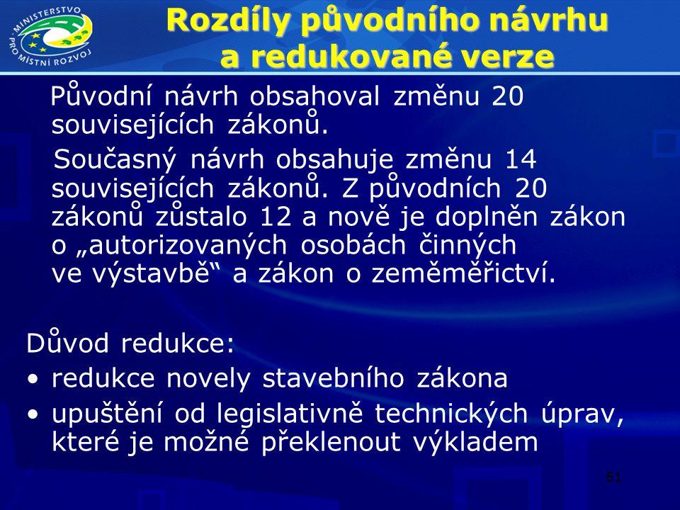 62 Rozdíly původního návrhu a redukované verze Z novelizace se vypouští tyto zákony: 1.zákon č.