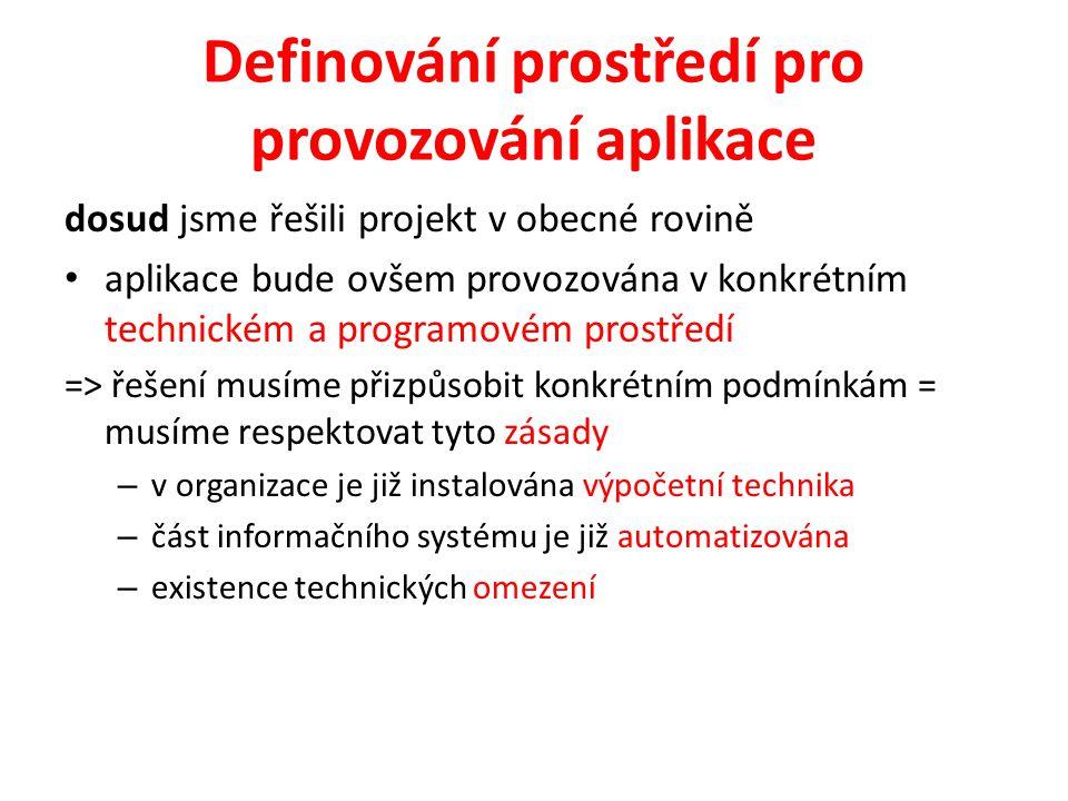 Definování prostředí pro provozování aplikace dosud jsme řešili projekt v obecné rovině aplikace bude ovšem provozována v konkrétním technickém a prog