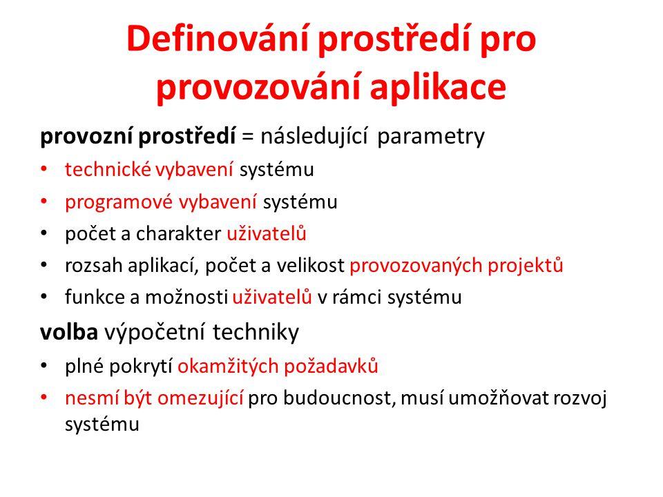 Definování prostředí pro provozování aplikace provozní prostředí = následující parametry technické vybavení systému programové vybavení systému počet