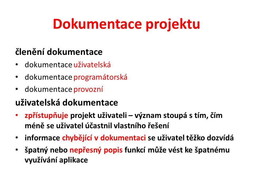 Dokumentace projektu členění dokumentace dokumentace uživatelská dokumentace programátorská dokumentace provozní uživatelská dokumentace zpřístupňuje
