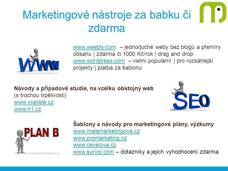 Marketingové nástroje za babku či zdarma www.weebly.comwww.weebly.com – jednoduché weby bez blogů a přemíry obsahu | zdarma či 1000 Kč/rok | drag and drop www.wordpress.comwww.wordpress.com – velmi populární | pro rozsáhlejší projekty | platba za šablonu Návody a případové studie, na vcelku obstojný web (s trochou trpělivosti) www.vceliste.cz www.h1.cz Šablony a návody pro marketingové plány, výzkumy www.malamarketingova.cz www.promarketing.cz www.cevelova.cz www.survio.comwww.survio.com – dotazníky a jejich vyhodnocení zdarma