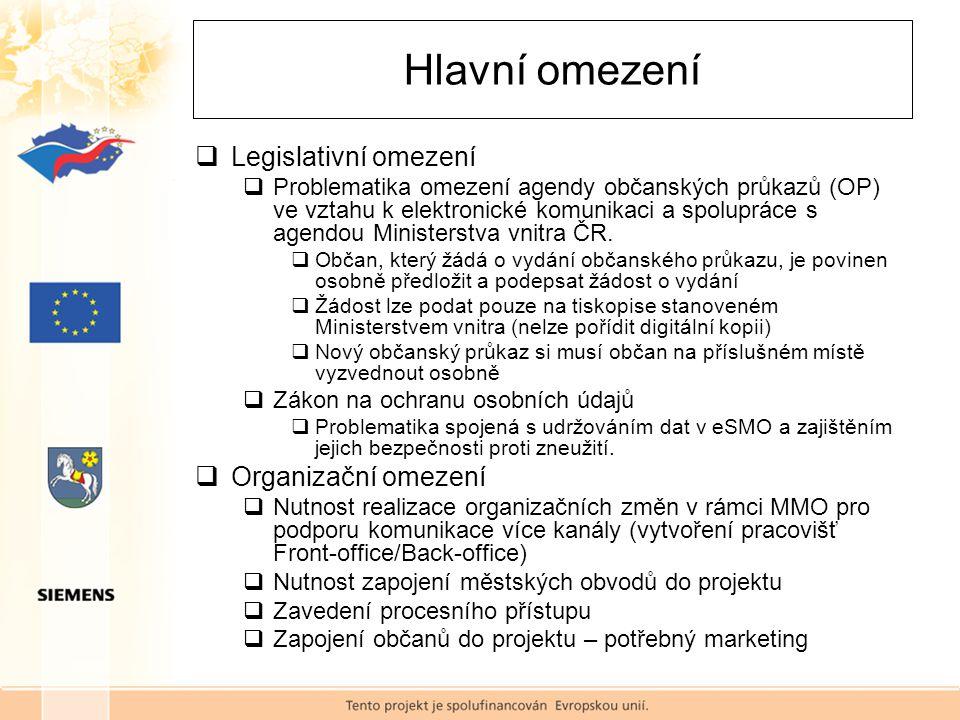  Legislativní omezení  Problematika omezení agendy občanských průkazů (OP) ve vztahu k elektronické komunikaci a spolupráce s agendou Ministerstva vnitra ČR.