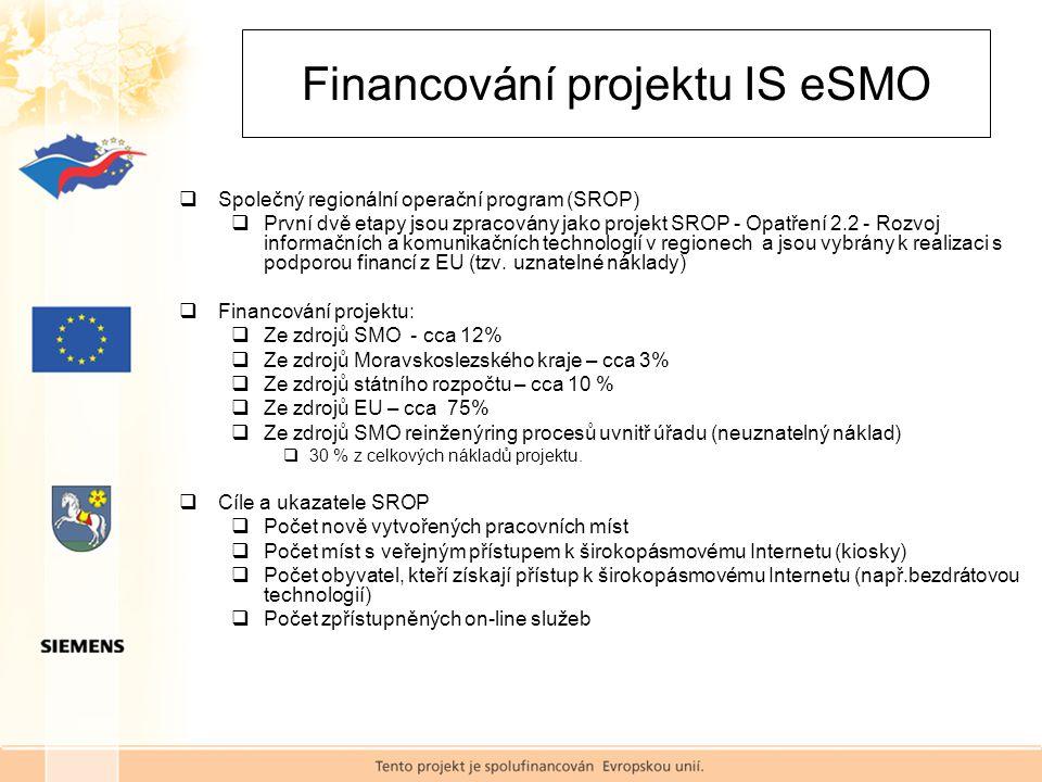 Financování projektu IS eSMO  Společný regionální operační program (SROP)  První dvě etapy jsou zpracovány jako projekt SROP - Opatření 2.2 - Rozvoj informačních a komunikačních technologií v regionech a jsou vybrány k realizaci s podporou financí z EU (tzv.