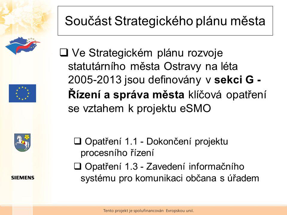  Ve Strategickém plánu rozvoje statutárního města Ostravy na léta 2005-2013 jsou definovány v sekci G - Řízení a správa města klíčová opatření se vztahem k projektu eSMO  Opatření 1.1 - Dokončení projektu procesního řízení  Opatření 1.3 - Zavedení informačního systému pro komunikaci občana s úřadem Součást Strategického plánu města