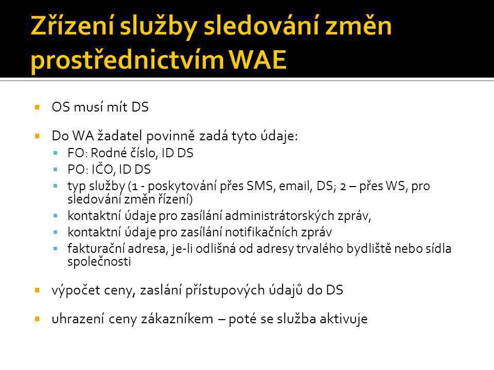  OS musí mít DS  Do WA žadatel povinně zadá tyto údaje:  FO: Rodné číslo, ID DS  PO: IČO, ID DS  typ služby (1 - poskytování přes SMS, email, DS; 2 – přes WS, pro sledování změn řízení)  kontaktní údaje pro zasílání administrátorských zpráv,  kontaktní údaje pro zasílání notifikačních zpráv  fakturační adresa, je-li odlišná od adresy trvalého bydliště nebo sídla společnosti  výpočet ceny, zaslání přístupových údajů do DS  uhrazení ceny zákazníkem – poté se služba aktivuje