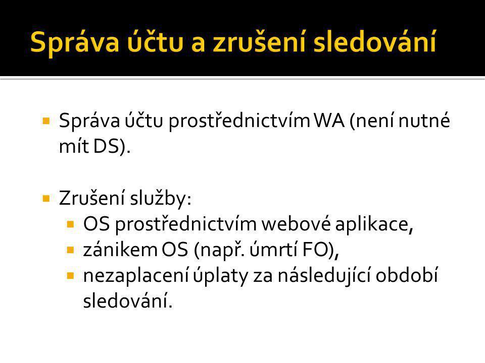  Správa účtu prostřednictvím WA (není nutné mít DS).