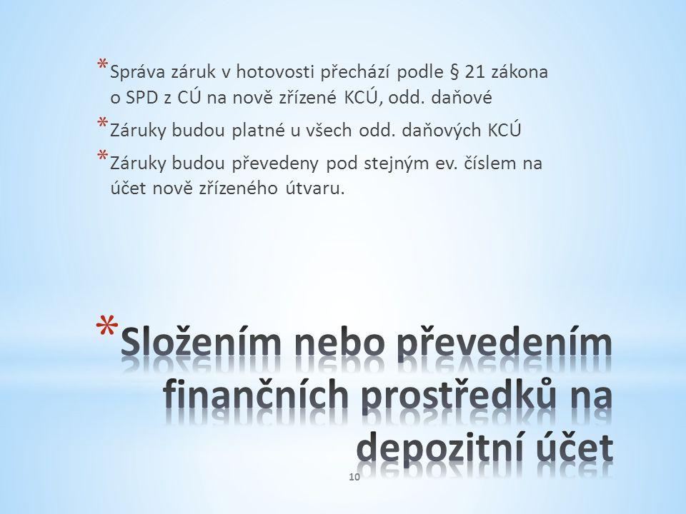 * Správa záruk v hotovosti přechází podle § 21 zákona o SPD z CÚ na nově zřízené KCÚ, odd. daňové * Záruky budou platné u všech odd. daňových KCÚ * Zá