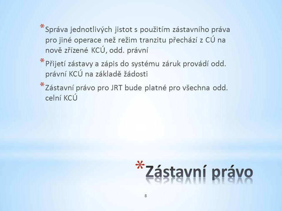 * Správa jednotlivých jistot s použitím zástavního práva pro jiné operace než režim tranzitu přechází z CÚ na nově zřízené KCÚ, odd. právní * Přijetí