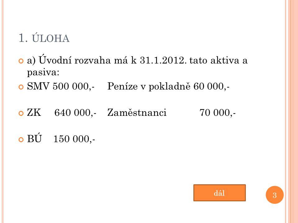 1. ÚLOHA a) Úvodní rozvaha má k 31.1.2012.