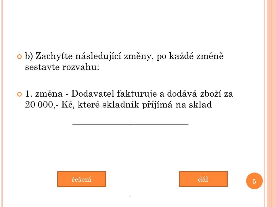 b) Zachyťte následující změny, po každé změně sestavte rozvahu: 1.