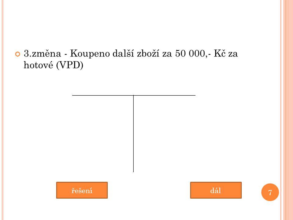 3.změna - Koupeno další zboží za 50 000,- Kč za hotové (VPD) 7 dálřešení