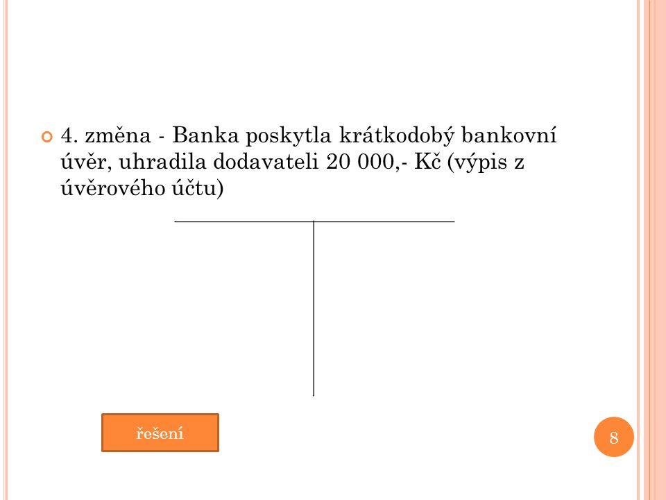 4. změna - Banka poskytla krátkodobý bankovní úvěr, uhradila dodavateli 20 000,- Kč (výpis z úvěrového účtu) 8 řešení