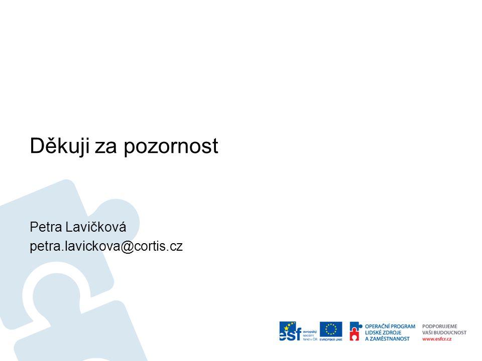 Děkuji za pozornost Petra Lavičková petra.lavickova@cortis.cz