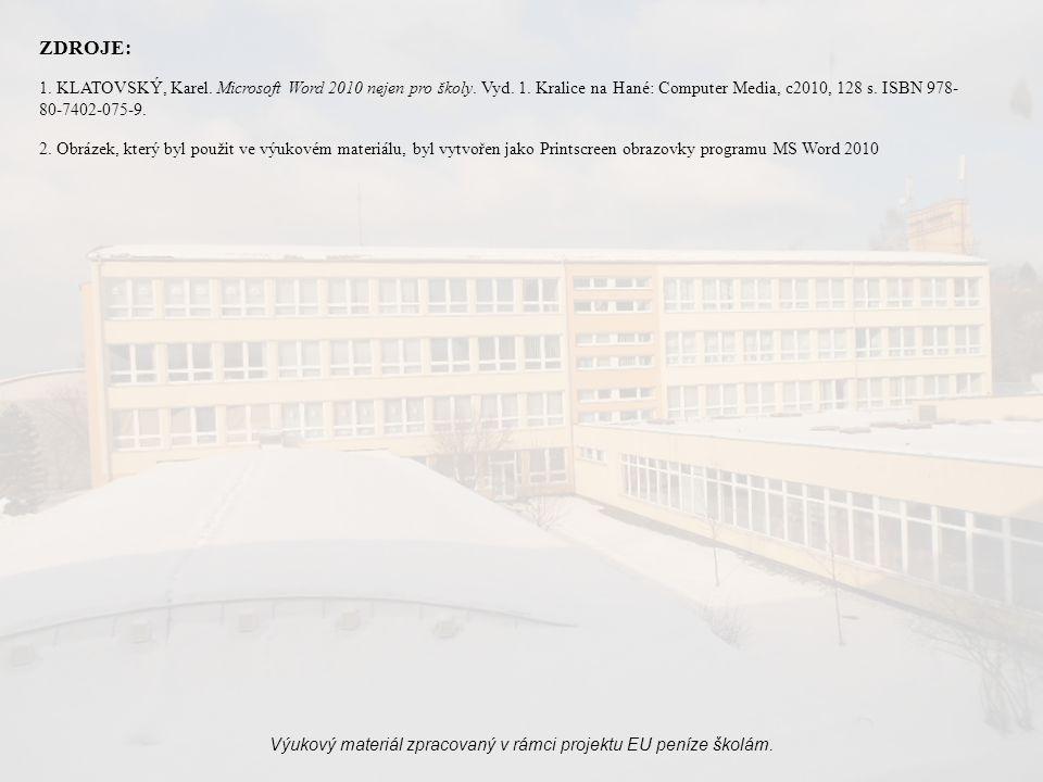 Výukový materiál zpracovaný v rámci projektu EU peníze školám.