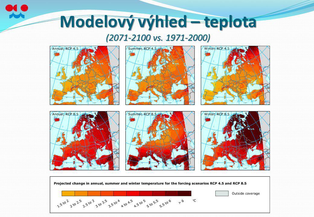 Modelový výhled – teplota (2071-2100 vs. 1971-2000)